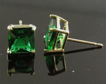 ITEM E15350EM 14K Yellow or White Gold Green CZ Princess Stud Earrings