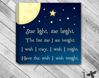 Star Light Star Bright - Nursery Rhyme Canvas Wall Art