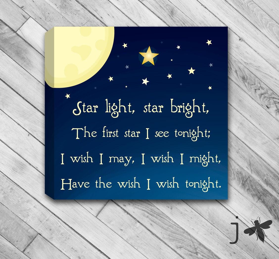 Star Light Star Bright Nursery Rhyme Canvas Wall Art