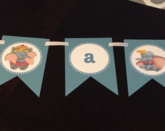 Dumbo It's a Boy banner - Baby Shower or baby announcement decoration, Banner, Its a Boy Dumbo new baby - It's a Girl also available in pink