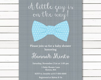 Blue Bow Tie Baby Shower Invitation, Little Man Baby Boy Shower Invitation, Printable Shower Invite, Digital JPEG PDF Printable