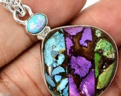 Natural mixed Arizona Copper Turquoise Pendant.Blue, Green and Purple Copper Turquoise with Opal Set in Solid Sterling Silver.Sterling chain