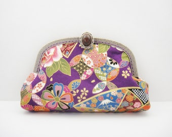 Japanese pouch, Makeup bag, Clutch, Purple, Floral
