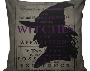 Cushion Pillow Halloween Witches Cotton and Burlap #RQ0067 RavenQuoth All Hallow's Eve Home Decor