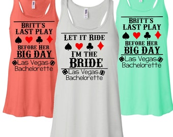 5 Last Play Before Her Big Day Casino Bachelorette Party Flowy Bridesmaid Racerback Tanks. Bridal Party Tanks. Casino Theme Tanks. D129