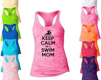 Keep Calm I'm A  Swim Mom Burnout Racerback Tank Top. Womens Burnout Tank Top. Mother Tank Top. Sports Mom Tank Tops.