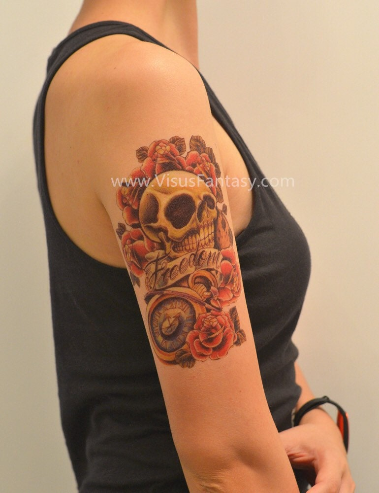 tatouage temporaire mort et tatouages rose rouges doigt. Black Bedroom Furniture Sets. Home Design Ideas