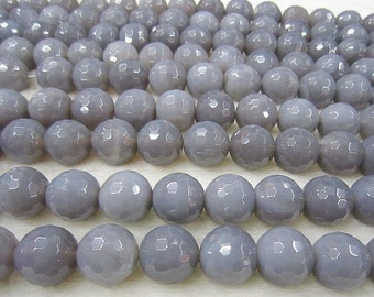 "Faceted Gray Agate Beads Grey Agate Loose Bead DIY Suppliers 15"" Full Strand 6mm 8mm 10mm 12mm Optional T039"