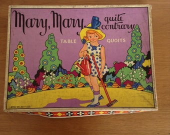Vintage 'mary mary quite contrary' table quoits game