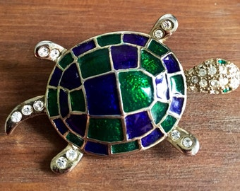 Gorgeous Blue and Green Enamel Rhinestone Turtle Brooch Pin, Ocean Brooch, Nautical Brooch, excellent condition. 1990's