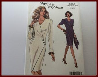 Beautiful! VERY Easy VOGUE Mock Wrap Dress Sewing Pattern, UNCUT, Vogue 8530, Size 18, 20, 22.