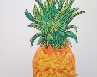 Pineapple Artwork Greetins Card Fruit Card Blank Card Birthday Card Fruity
