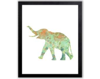 Baby Elephant Art - Elephant Decor - Watercolor Animal Painting - EL004