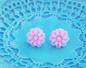 Petal Pink Floral Stud Earrings