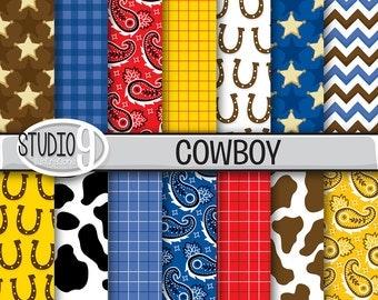 COWBOY Digital Paper: Cowboy Pattern Prints Cowboy Printable, Cowboy Download, Cowboy Backgrounds Cowboy Scrapbook
