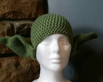 Crocheted Adult Yoda Hat
