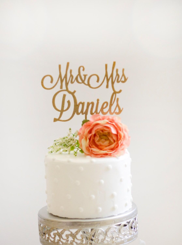 Custom Mr And Mrs Wedding Cake Topper Glitter Gold