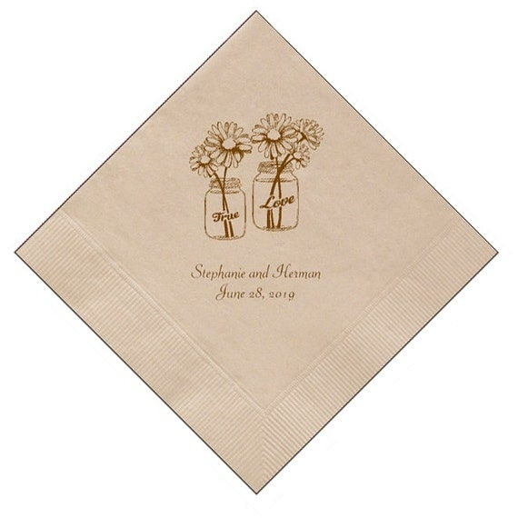 rustic country wedding napkins with mason jars and by