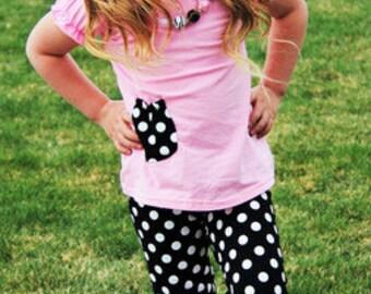 Pink Shirt with Black & White Polka Dots Capri Pant Set