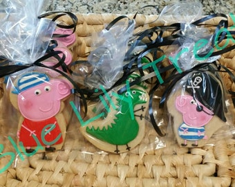 Argh Matey! Pirate Peppa Pig Cookies, Pirate George Pig and George's Dinosaur - 1 dz. decorated cookies