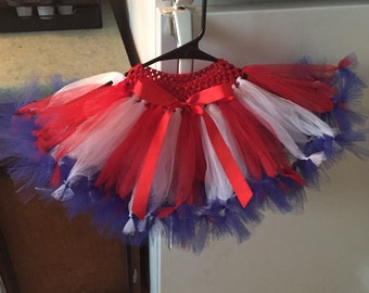 Red white and blue Fourth of July tutu and headband