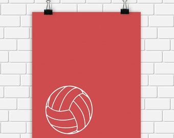 Volleyball Printable Art Print Sports Ball Print Sport Wall Decor Digital File Choose Color and Size