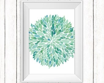 Home Decor Printable Art Floral Teal Blue Green Art Print Dahlia Flower Wall Art, 8 x 10 Instant Download
