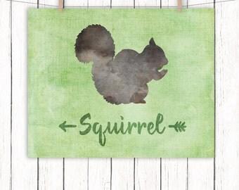 Woodland Animal Nursery Printable Art Squirrel Nursery Art Print Green Wall Art, 8 x 10 Instant Download