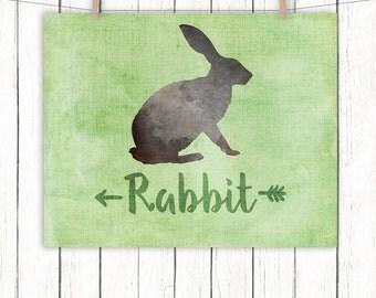 Woodland Animal Nursery Printable Art Rabbit Nursery Art Print Green Wall Art, 8 x 10 Instant Download
