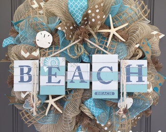 Beach Burlap/Deco Mesh Wreath with Seashells
