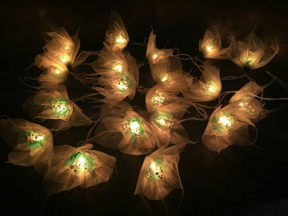 Green Flower String Lights : Fairy Lights-20 White-Green Flower Fairy String by FloraBlossanova