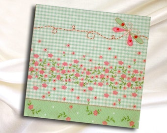 Spring paper napkins for decoupage with flowers and a butterfly, size 33x33cm  Set of 3 paper napkins (no.38)