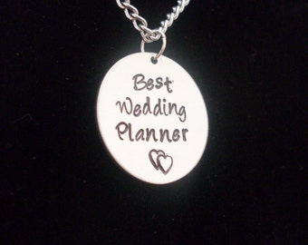"""Best Wedding Planner Or Custonm Message Thank You Gift Personalized Custom Hand Stamped 1"""" Silver Aluminum Charm Necklace"""