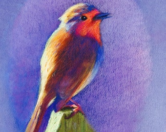 Original pastel painting of robin