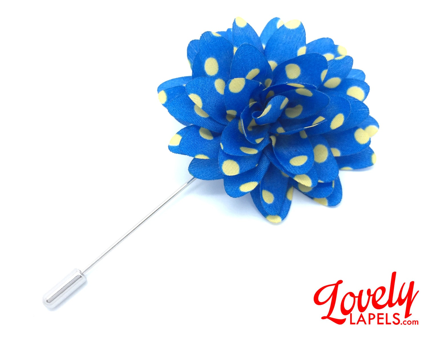FLOWER LAPEL PIN Blue with Yellow Dots Silk by LovelyLapels