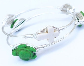 Under the Sea Turtle Bangle in Green