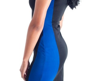 Blue and Black Colorblock BodyCon Dress - Trendy, Cute & Stylish - S,M,L