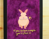 Bunny Rabbit Art Print in Purple with Quote-If you believe in magic,you'll find it/Animal/Nursery/Child Bedroom Wall/Home Décor/Festival
