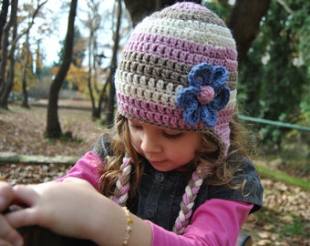 Childrens hat, crochet hat with flower, hat with earflaps, stripped beanie MP001