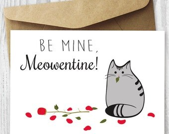 Valentine Card Printable, Cat Valentine's Day Card Download, Funny Cat Valentine Card, DIY Valentine's Day Card, Valentines Card from Cat