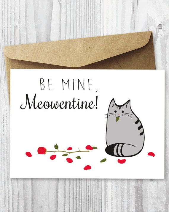 Valentine Card Printable Cat Valentines Day Card – Cat Valentine Card