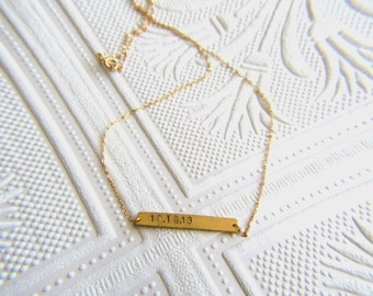 Bar Necklace in Gold or Sterling Silver | Hand Stamped Custom Initials and Dates | Bridesmaid Gift | May Birthday Gift for Her