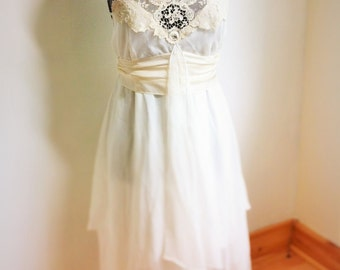 Ivory and white silk chiffon and antiqu lace boho wedding dress