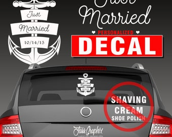 Just Married Decal Etsy - Car window decals custom made