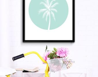 Mint Palm Tree Decor, Mint Summer Print, Mint Summer Art, Mint California. Mint Green Print, Mint Print, Mint Printable, Aqua Mint Printable