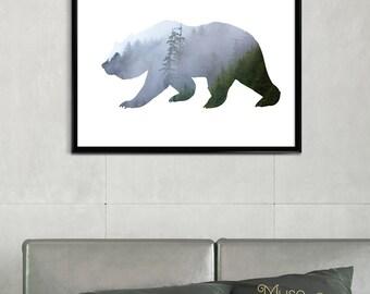 Woodland Bear, Woodland Print, Woodland Nursery Wall Art Print, Woodland Decor Art, Bear Art, Nursery Bear Illustration, Bear Photo Print