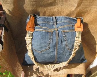 Up-cycled denim skirt bag