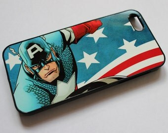 Custom Printed marvel comic character Captain America Apple iphone 4 4s 5 5s 5c 6 6 plus case cover