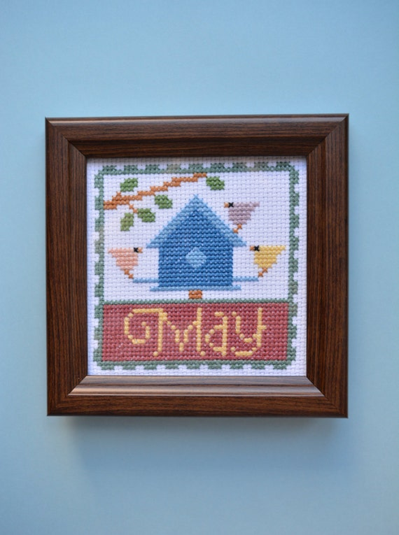 May Calendar Decorations : May cross stitch decorative wall calendar completed