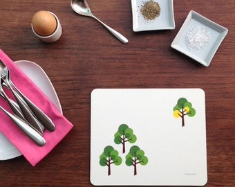 Set of 4 Placemats, Table Mats, Place Mat in Modern Scandinavian MidCentury Oak Tree design in white green yellow red orange grey detail